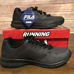 Fila All Black Memory Foam Insole Sneaker Size 7.5